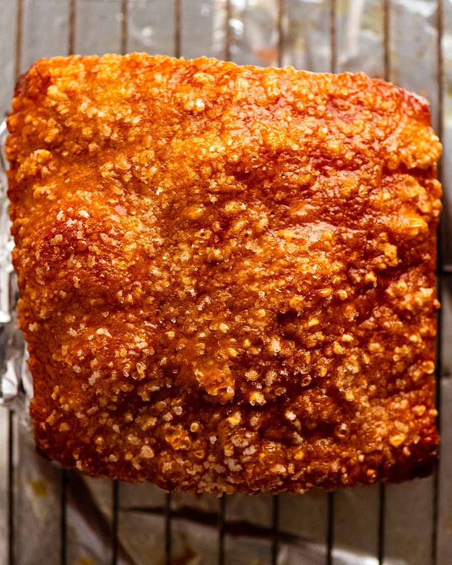 Close up photo go crispy crackling of Slow Roasted Pork Belly