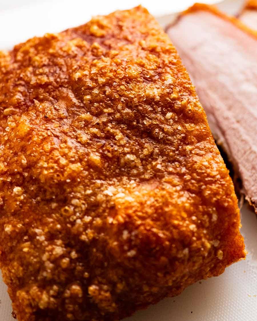 Close up photo of crispy crackling of Slow Roasted Pork Belly
