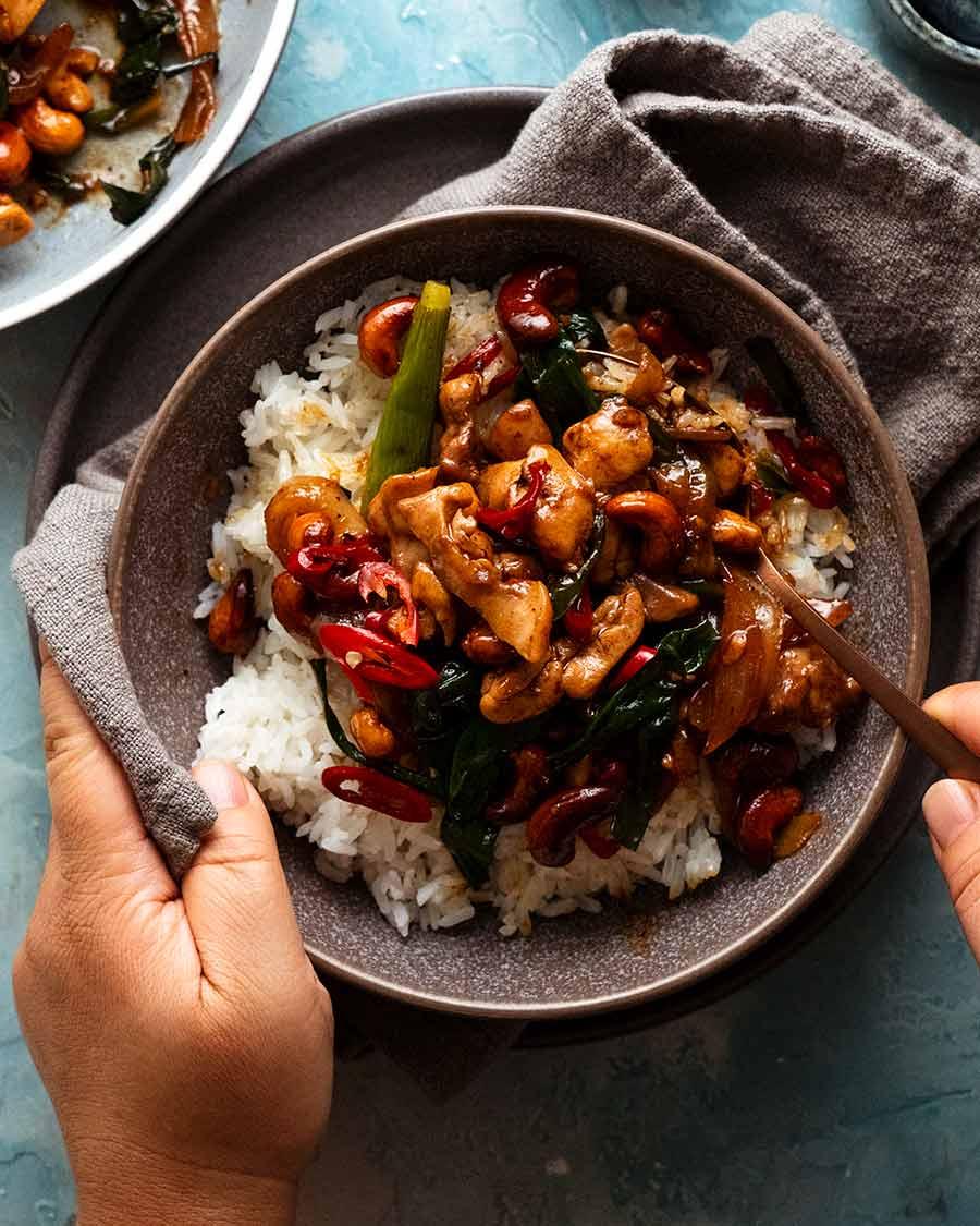 Thai Cashew Chicken Stir Fry in a bowl served with Jasmine rice