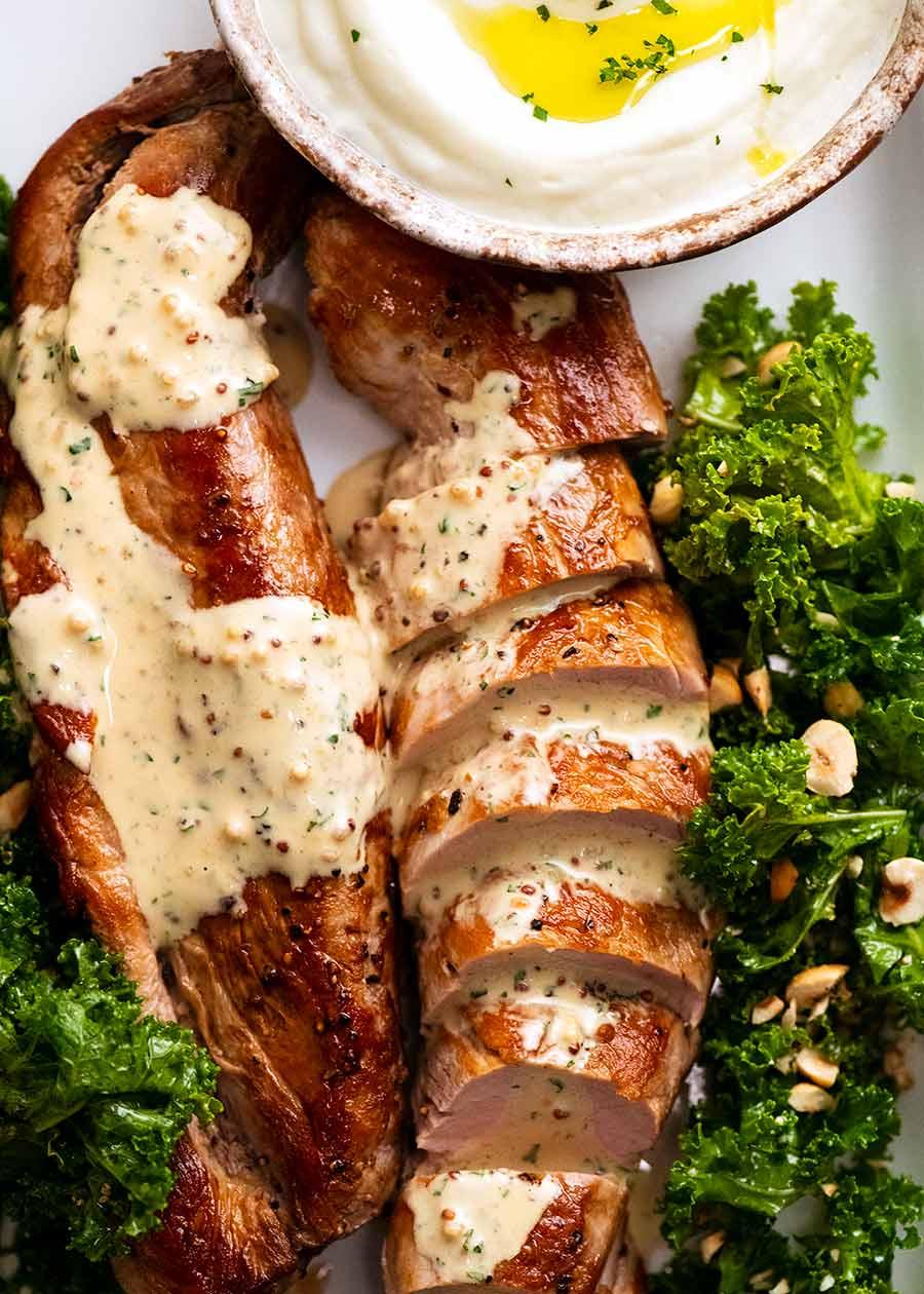 Overhead photo of Pork Tenderloin with Creamy Mustard Sauce