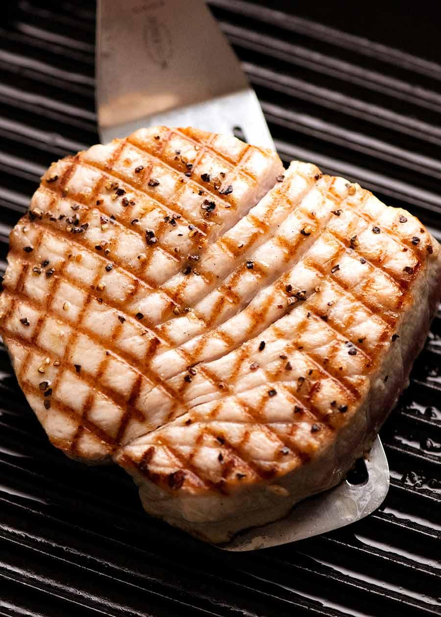 Pan seared Tuna Steak in a skillet