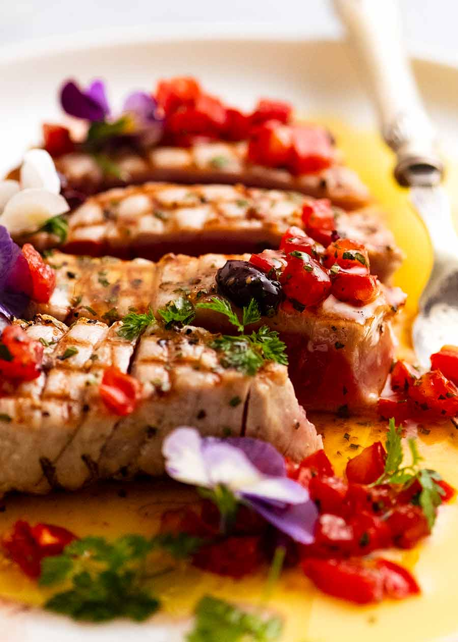 Tuna Steak with Sauce Vierge, ready to be served