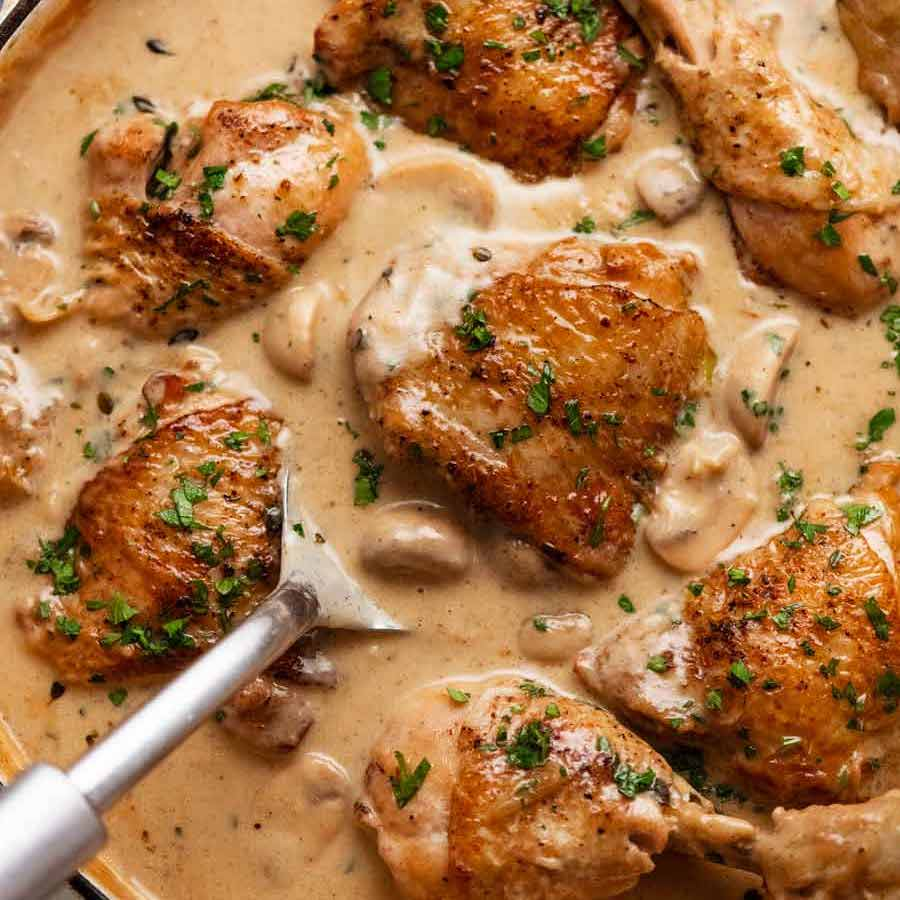 Overhead photo of Chicken Fricassée fresh off the stove