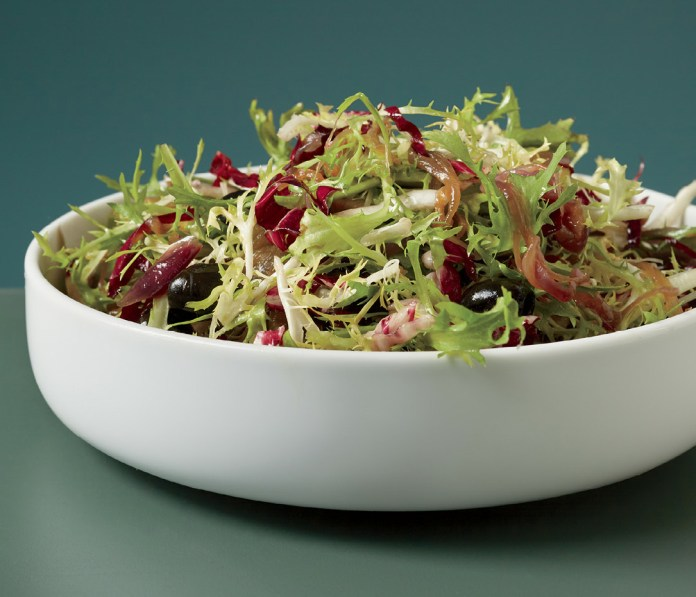 Bitter Greens with Maple-Onion Dressing