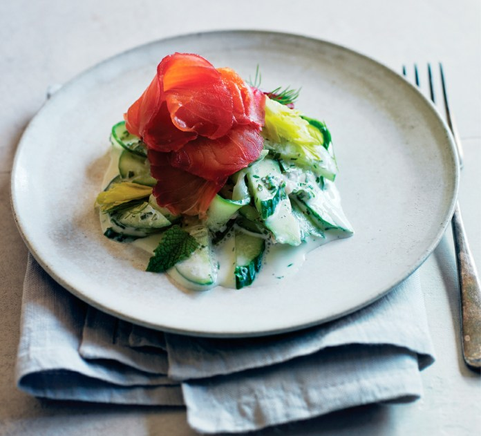 Beet-Cured Salmon with Creamy Herbed Cucumbers