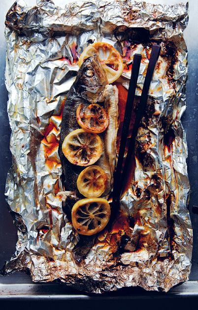 Foil-Baked Whole Trout with Lemon–Soy Sauce Butter