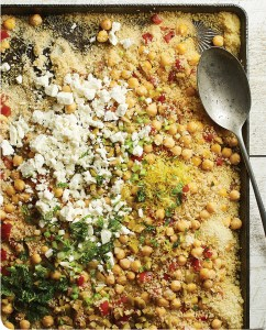 MOROCCAN COUSCOUS SALAD WITH OLIVES, CHICKPEAS, AND ROASTED TOMATOES