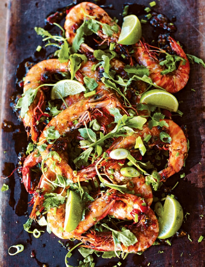 Prawns from the barbie with black pepper sauce