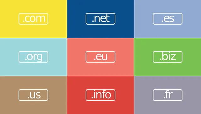 Un immagine con diversi colori con ognuno un'estensione di dominio come la .com, la .net, la .eu, la .info