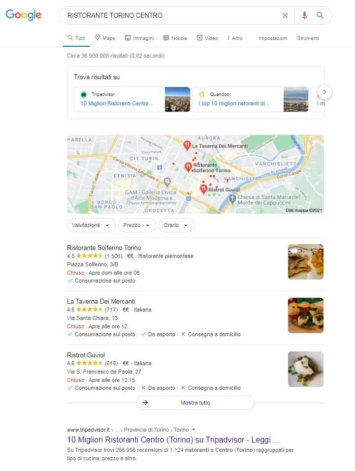 pagina dei risultati di google