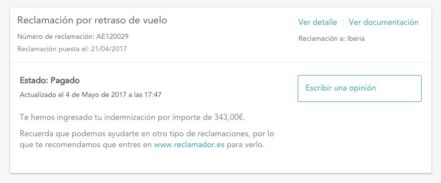 pantallazo de opiniones de la web de reclamador.es
