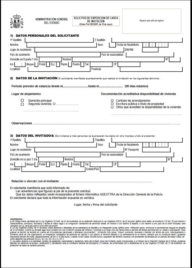 Modelo de solicitud de carta de invitación para extranjeros en España