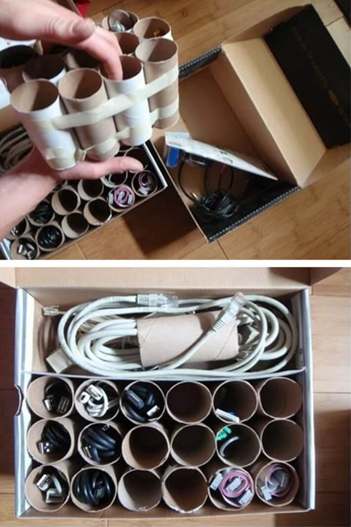 Use cardboard tubes to corral electric cords