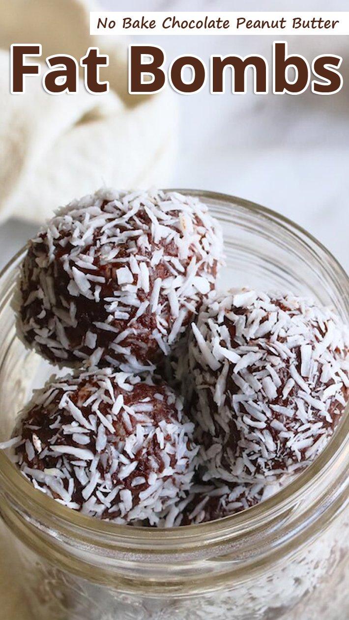 No Bake Chocolate Peanut Butter Fat Bombs