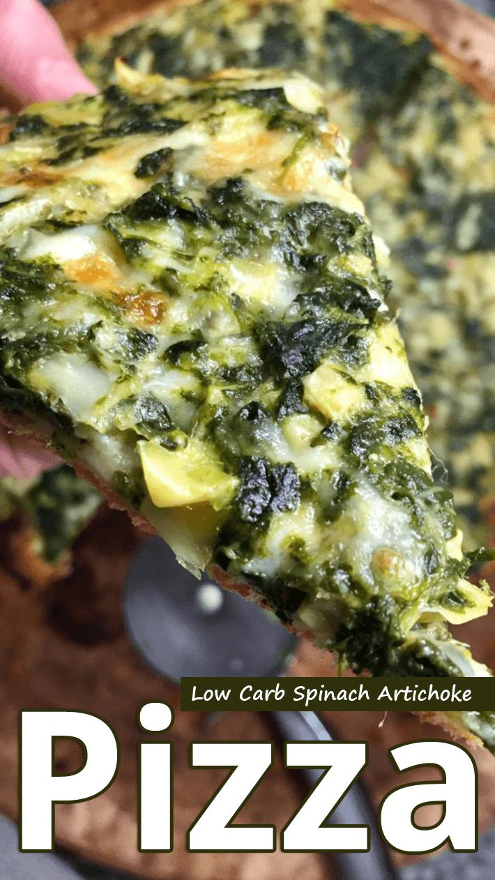 Low Carb Spinach Artichoke Pizza
