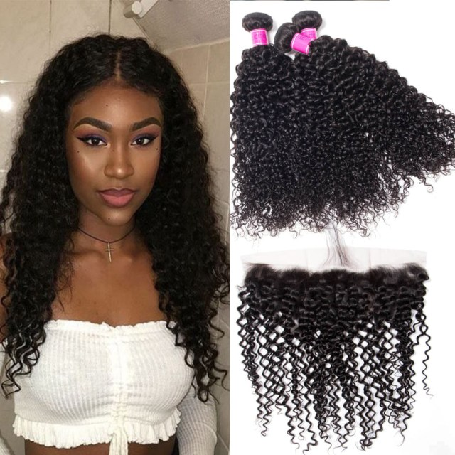 recool malaysian curly virgin hair bundles with frontal 100% virgin human hair 3 bundles with frontal jerry curly