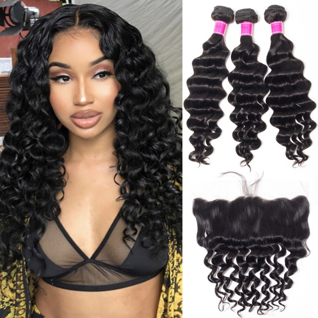 peruvian virgin hair bundles loose deep wave with 13*4 frontal closure best deals 3 bundles human hair weft with frontal