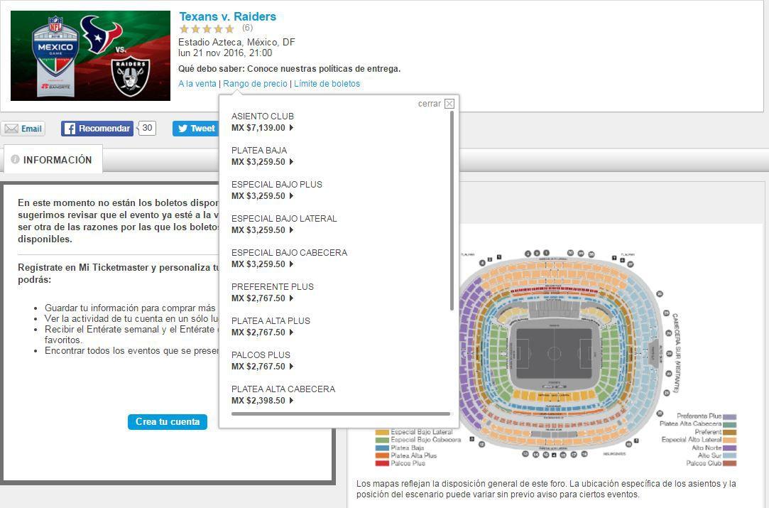 Lista de precios del portal Ticketmaster