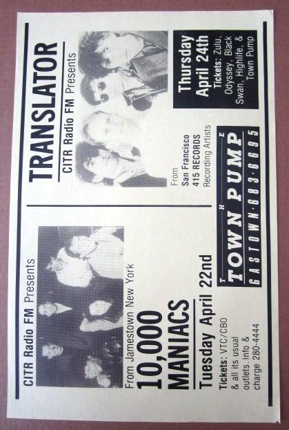 10,000 MANIACS / TRANSLATOR 1986 Concert GIG Tour Poster Vancouver Canada ORIGINAL