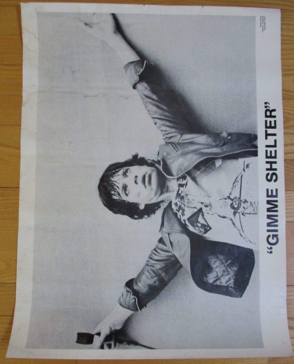 "ROLLING STONES - MICK JAGGER Vintage 1977 Poster ""GIMME SHELTER""  25"" x 19"""