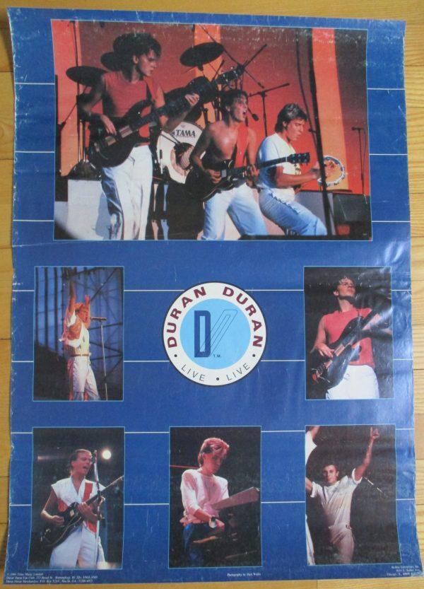 "DURAN DURAN Vintage Poster ""LIVE"" 1984 Original 28"" x 20"" Bi-Rite"