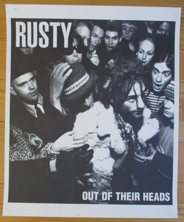"""RUSTY Vintage Promo Poster 1998  """"OUT OF THEIR HEADS"""" 33″ x 23″ Original"""