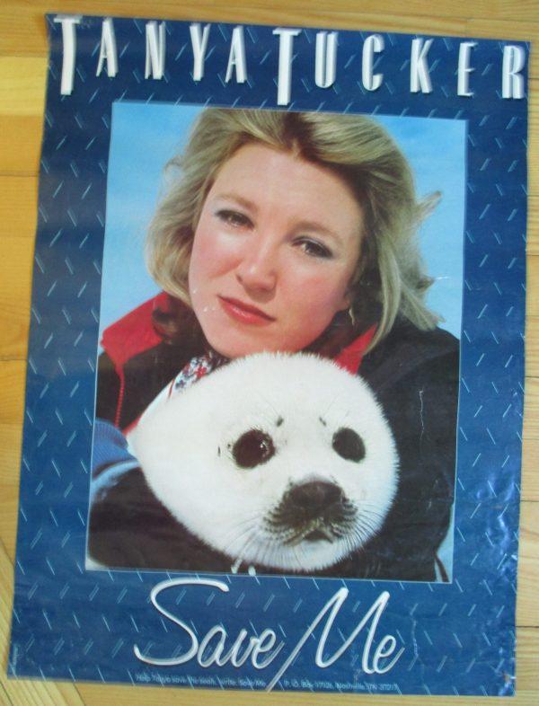 "TUCKER, TANYA Vintage Promo Poster 1978 ""SAVE THE SEALS"" 18″ x 24″ RARE"