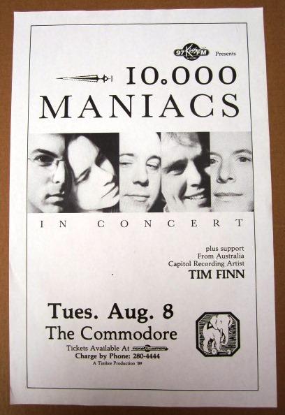 10,000 MANIACS Concert GIG Tour Poster Vancouver, Canada ORIGINAL