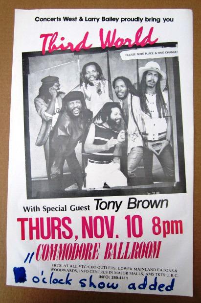 THIRD WORLD Concert GIG Tour Poster Vancouver, Canada ORIGINAL
