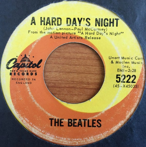 BEATLES, The – Canadian 45 RPM – 5222 – A HARD DAY'S NIGHT / I SHOULD HAVE KNOWN BETTER