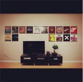 Vinyl record frames with home theater