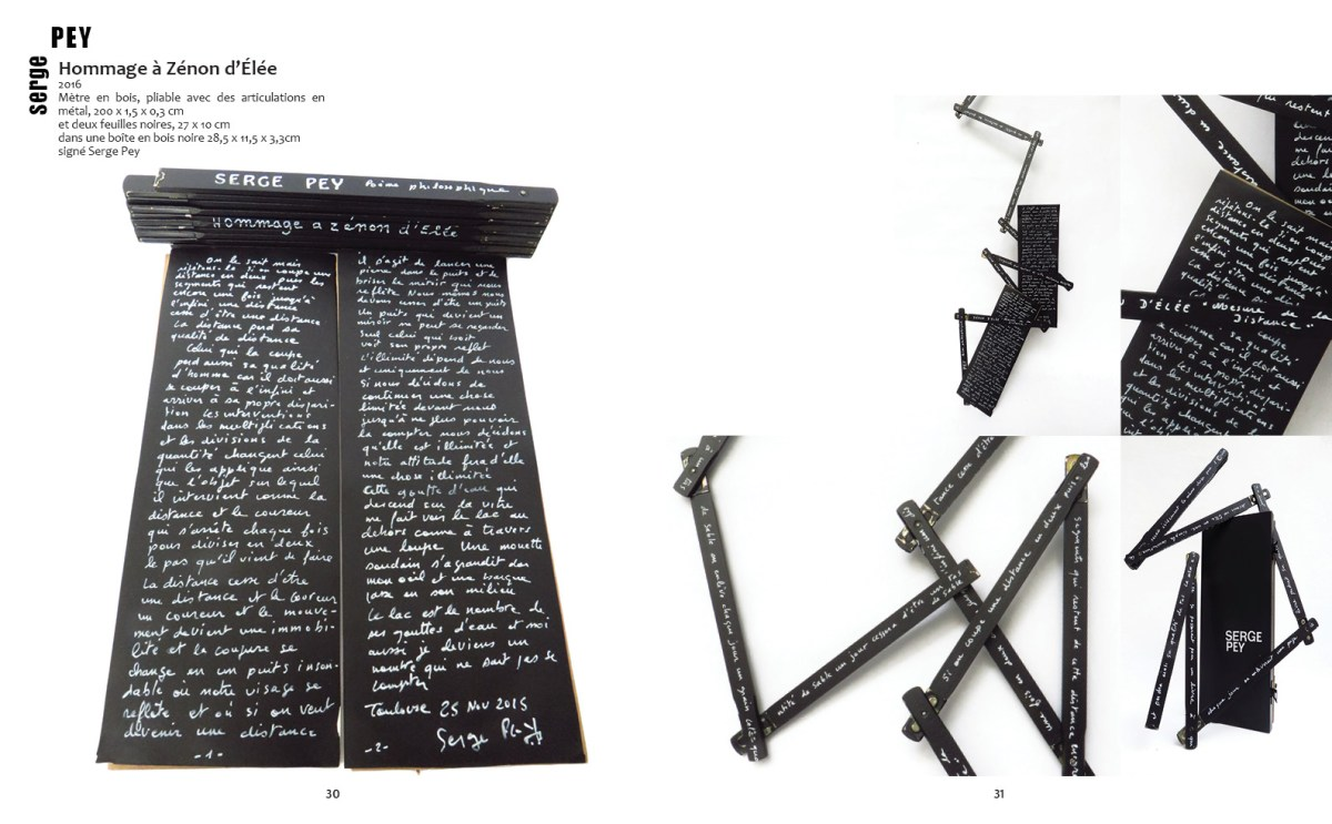 """double page de Serge Pey, """"Hommage à Zénon d'Elée"""""""