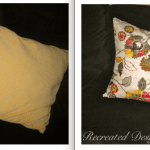 a before and after shot of pillows redone with fabric