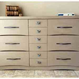 walnut dresser painted with Annie Sloan Coco coloured Chalk Paint