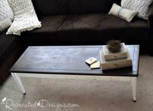 vintage coffee table with a stained top and creamy white base