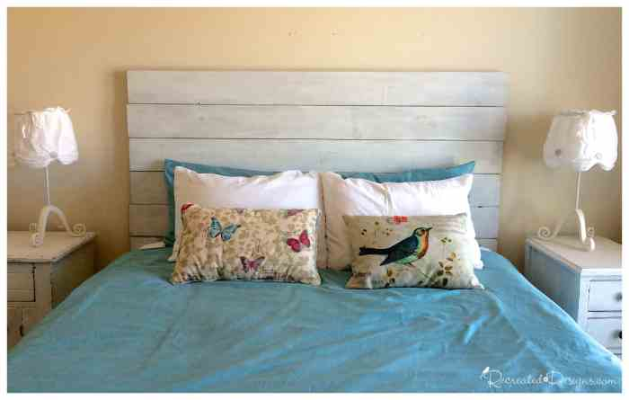 a DIY headboard for a queen sized bed