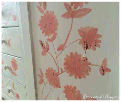 Handpainted Details on Antique Armoire