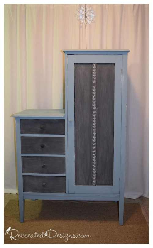 an antique chifferobe that was given a modern look with Fusion Mineral Paint in Champness and chalkboard paint