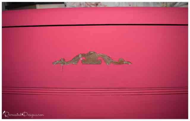 removing the embellishment from a vintage dresser