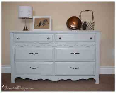 vintage dresser painted with fusion mineral paint in sterling