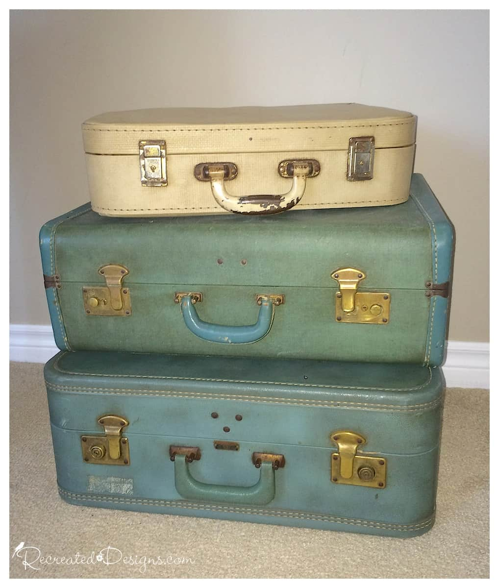 ... Vintage Suitcase Stack Before Being Made Into Side Table