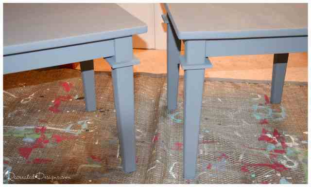 two old side tables painted grey