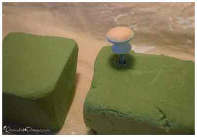 using floral foam to dry painted knobs