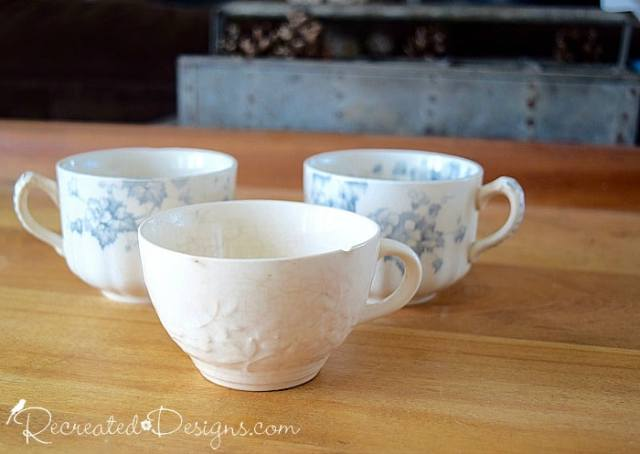 old English tea cups in blue and white