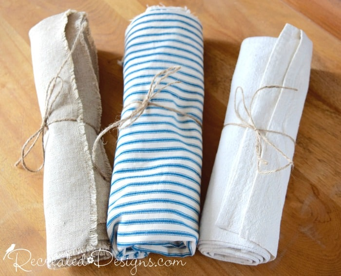vintage blue and beige linens