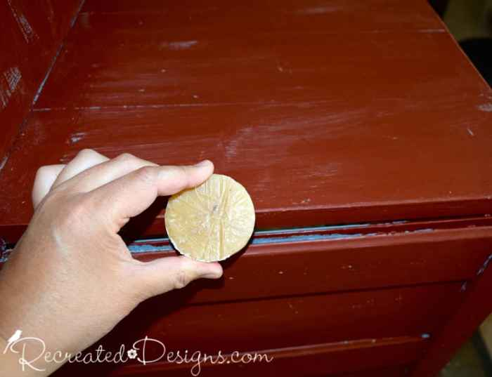 wax puck over Red Barn Milk Paint