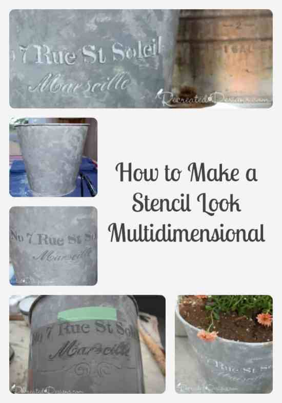 How to make a stencil multidimensional on Galvanized Metal Paint