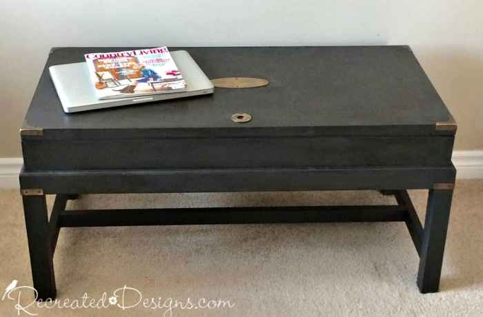 Bombay trunk style coffee table painted in Annie Sloan Chalk Paint in Grahite