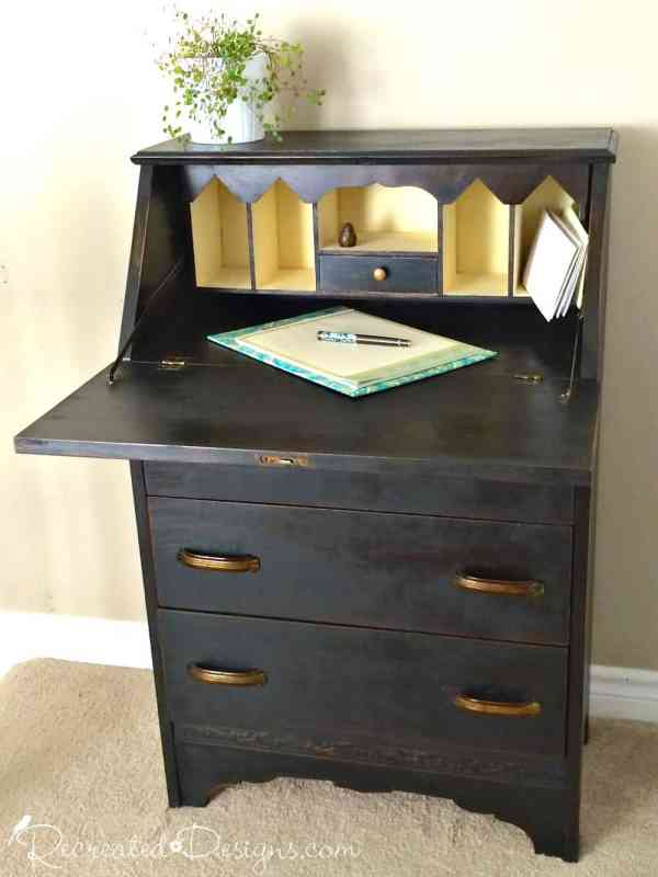 Vintage secretary painted with Miss Mustard Seed Milk Paint in Typewriter with original handles