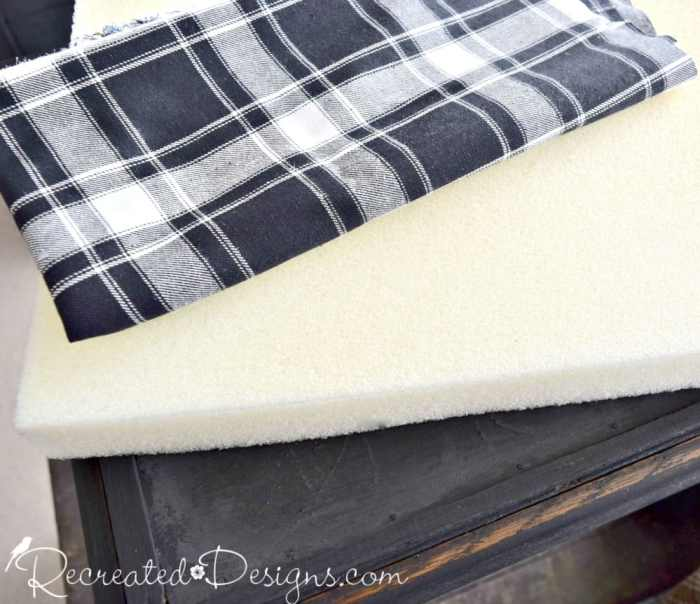 flannel plaid fabric and foam needed to make a rustic game table